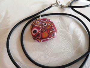 Fimo Anhänger Klimt-Cane aud Kette, Modelliermassse